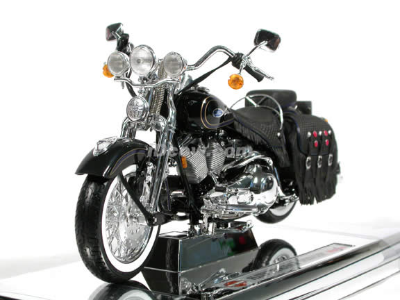 Harley Davidson Heritage Springer FLSTS Model Diecast Motorcycle 1:10 die cast by Maisto - Black with Blue Trim