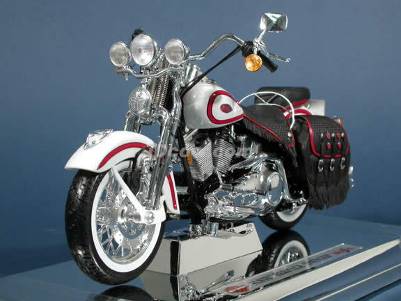 Harley Davidson Heritage Springer FLSTS Model Diecast Motorcycle 1:10 die cast by Maisto - White with Red Trim
