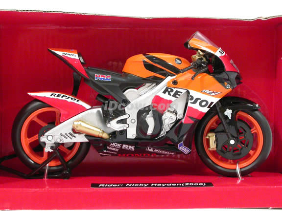 2008 Honda RC212V #69 Repsol Honda Team Nicky Hayden Diecast Motorcycle Model 1:12 scale die cast from NewRay - Orange Black 43347