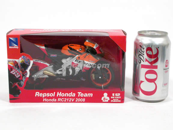 2008 Honda RC212V #69 Repsol Honda Team Nicky Hayden Diecast Motorcycle Model 1:12 scale die cast from NewRay - Orange Black 43347