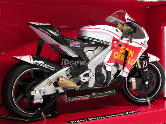2008 Honda RC212V #56 Gresini Racing Shinya Nakano Diecast Motorcycle Model 1:12 scale die cast from NewRay - San Carlo 43327