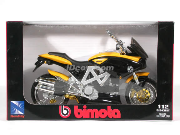 2001 Bimota Mantra diecast motorcycle 1:12 scale die cast by NewRay - Black - Yellow