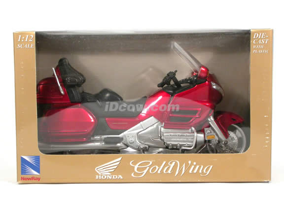 2001 Honda Gold Wing diecast motorcycle 1:12 scale die cast by NewRay - Metallic Red