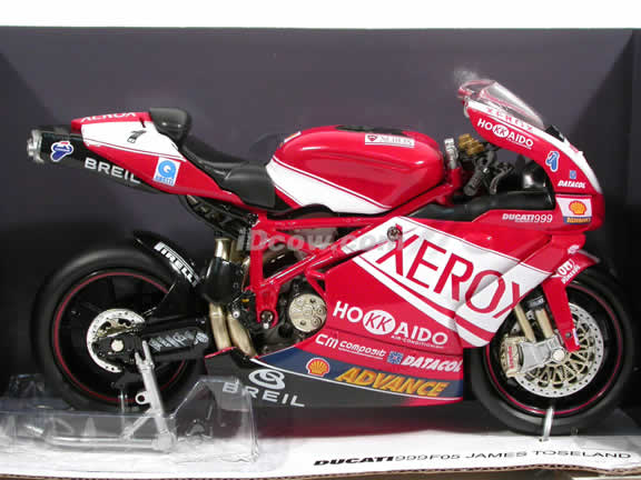 2005 Ducati 999 #1 F05 James Toseland Diecast Motorcycle Model 1:12 scale die cast from NewRay - Red Xerox 42347