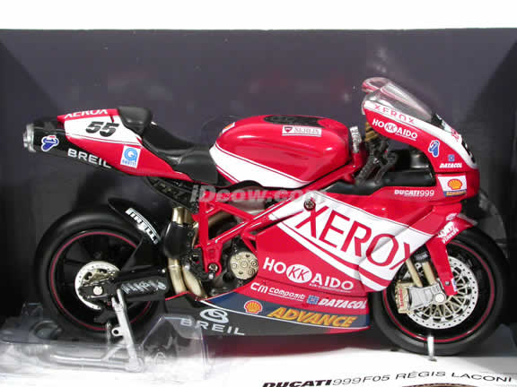 2005 Ducati 999 #55 F05 Regis Laconi Diecast Motorcycle Model 1:12 scale die cast from NewRay - Red Xerox 42357
