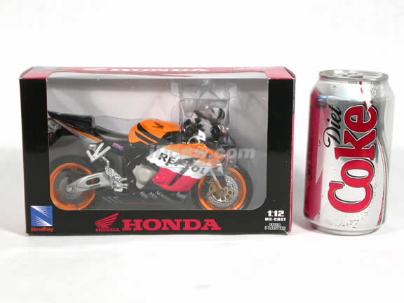 2005 Honda CBR1000R Diecast Motorcycle Model 1:12 scale die cast from NewRay - Orange Racing 42387