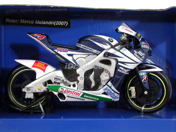 2007 Honda Gresini RC212V #24 Toni Elias Diecast Motorcycle Model 1:12 scale die cast by NewRay - White Blue 43007