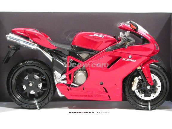 2008 Ducati 1098 Diecast Motorcycle Model 1:12 scale die cast by NewRay - Red 42727