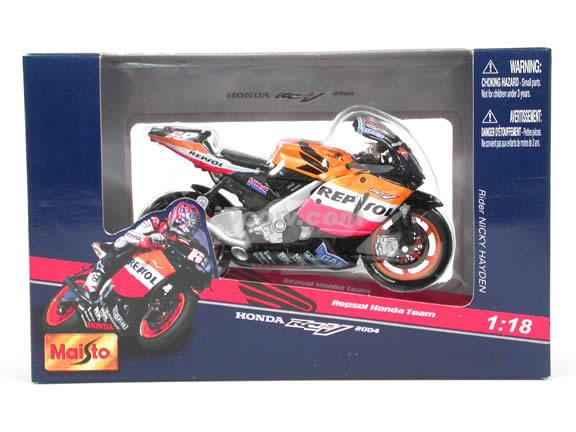 2004 Honda RCV 211 #69 Nicky Hayden Repsol Honda Team Diecast Motorcycle Model 1:18 scale die cast from Maisto - Orange & Black