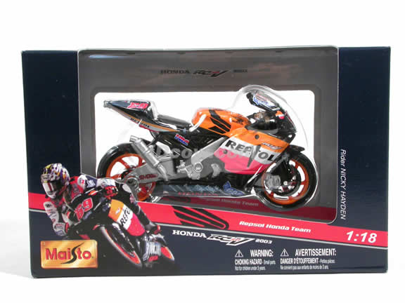 2003 Honda RC211V #69 Repsol Honda Team Nicky Hayden Diecast Motorcycle Model 1:18 scale die cast from Maisto - Orange Black 31541