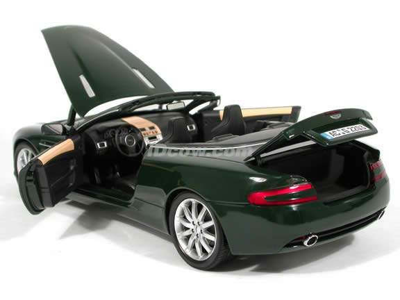 2004 Aston Martin DB9 Convertible diecast model car 1:18 scale die cast from Minichamps - Green
