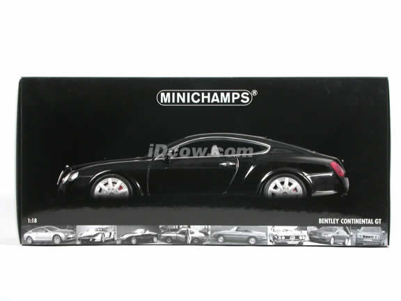 2005 Bentley Continental GT diecast model car 1:18 scale die cast from Minichamps - Black 056046