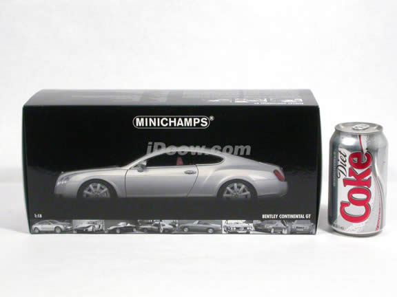 2005 Bentley Continental GT diecast model car 1:18 scale from Minichamps - Silver 073418