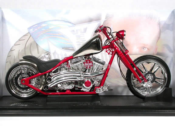 Jesse James West Coast Choppers Cherry CFL Diecast Chopper Model 1:10 scale die cast motorcycle by Muscle Machines - Red