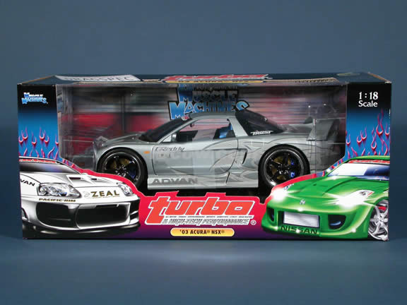 2003 Acura NSX Turbo diecast model car 1:18 scale die cast from Muscle Machines - Silver