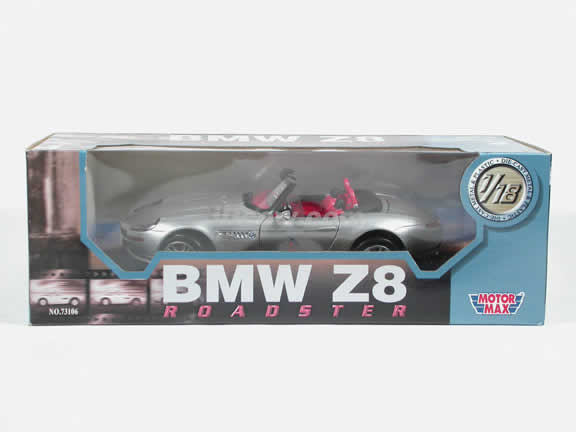 2002 BMW Z8 diecast model car 1:18 scale die cast by Motor Max - Silver