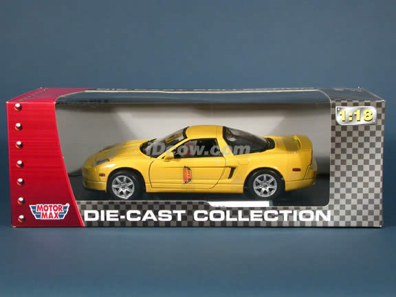 2002 Acura NSX diecast model car 1:18 scale die cast by Motor Max - Yellow