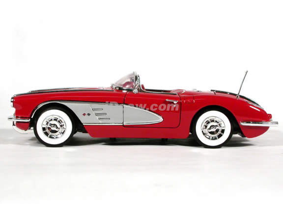 1958 Chevy Corvette diecast model car 1:18 scale die cast by Motor Max - Red
