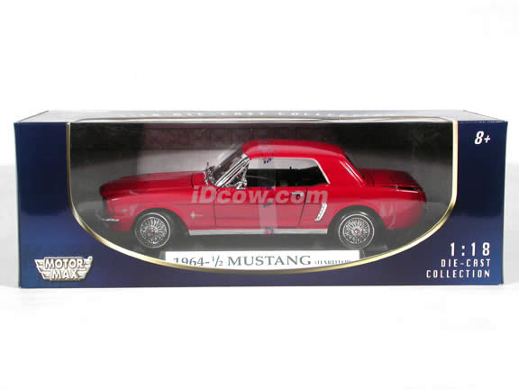 1964 1/2 Ford Mustang diecast model car 1:18 scale die cast by Motor Max - Red