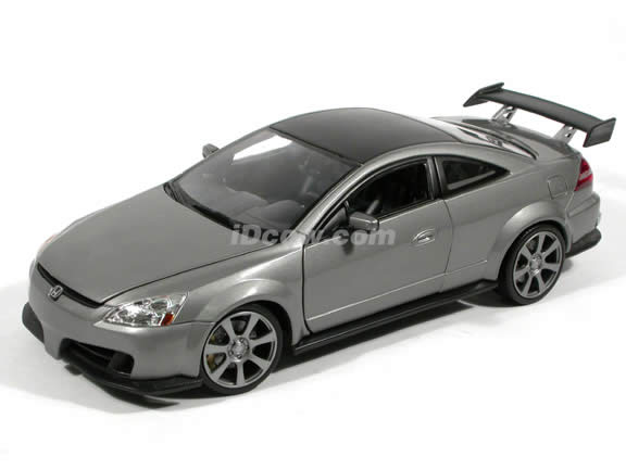 2003 Honda Accord diecast model car 1:18 scale Custom Tuner by Motor Max - Metallic Grey