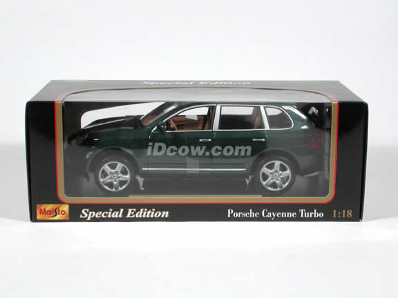 2003 Porsche Cayenne Turbo S diecast model car 1:18 scale die cast by Maisto - Metallic Green