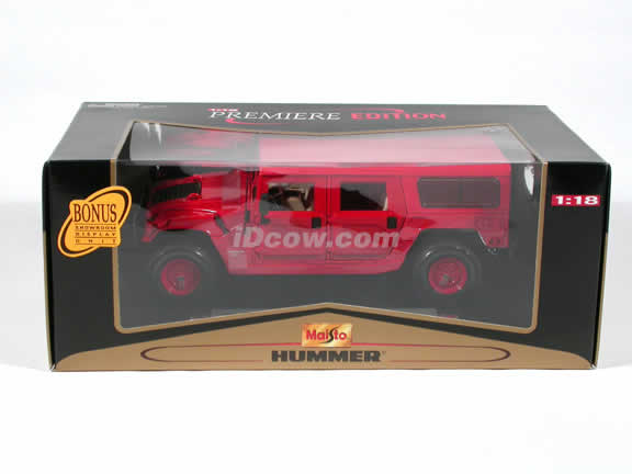 2000 Hummer H1 diecast model car 1:18 scale die cast by Maisto - Red Wagen