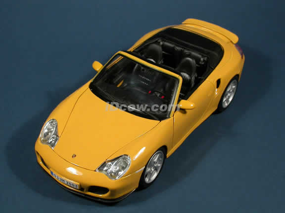 2004 Porsche 911 Turbo Cabriolet diecast model car 1:18 scale die cast by Maisto - Yellow