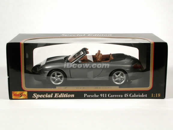 2004 Porsche 911 Carrera 4S Cabriolet diecast model car 1:18 scale die cast by Maisto - Dark Silver
