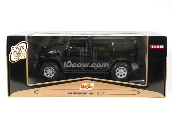 2003 Hummer H2 diecast model car 1:18 scale die cast by Maisto - Black