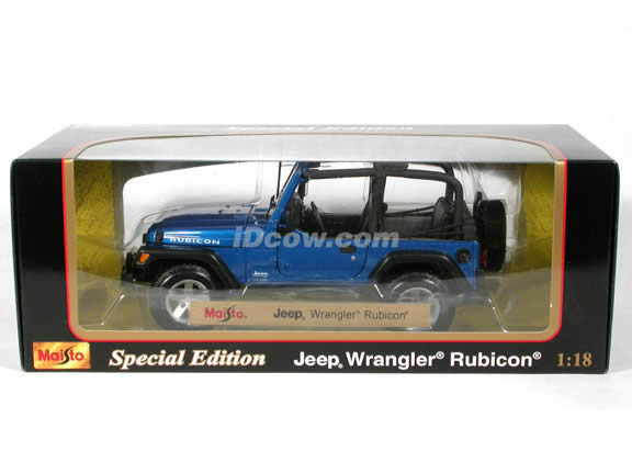 2004 Jeep Wrangler Rubicon diecast model car 1:18 scale die cast by Maisto - Blue