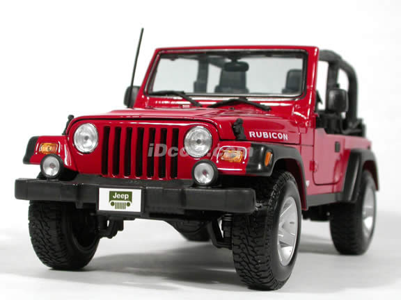 2004 Jeep Wrangler Rubicon diecast model car 1:18 scale die cast by Maisto - Red