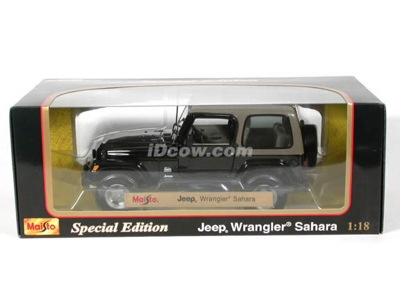 2004 Jeep Wrangler Sahara diecast model car 1:18 scale die cast by Maisto - Black