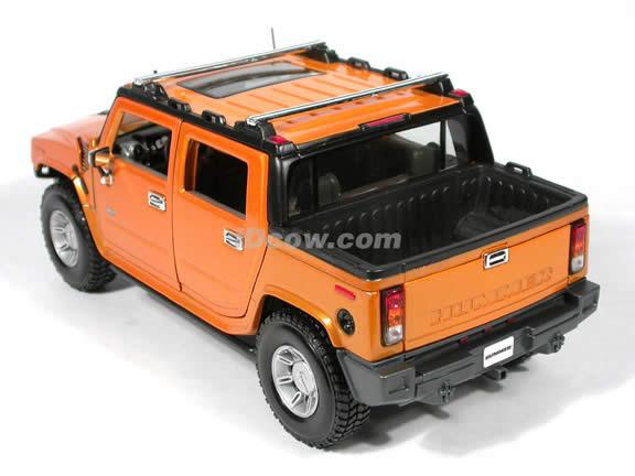 2004 Hummer H2 diecast model car 1:18 scale die cast by Maisto - Orange