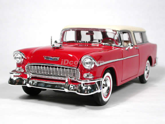 1955 Chevrolet Nomad diecast model car 1:18 scale die cast by Maisto - Red