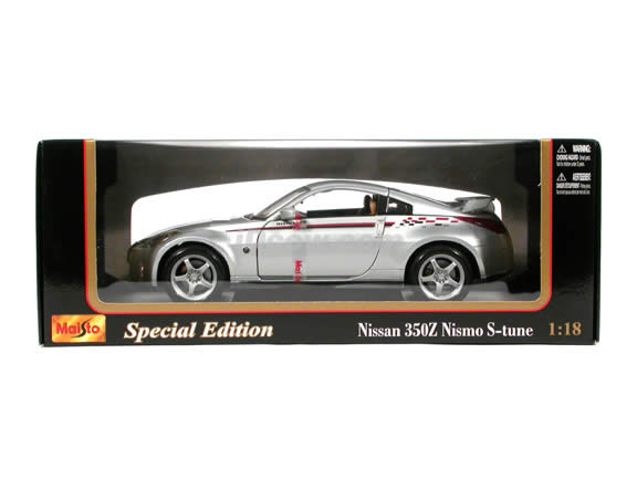 2004 Nissan 350Z Nismo S-Tune diecast model car 1:18 scale die cast by Maisto - Silver