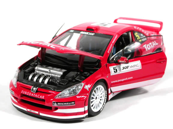 2004 Peugeot 307 WRC #5 diecast model car 1:18 scale die cast by Maisto