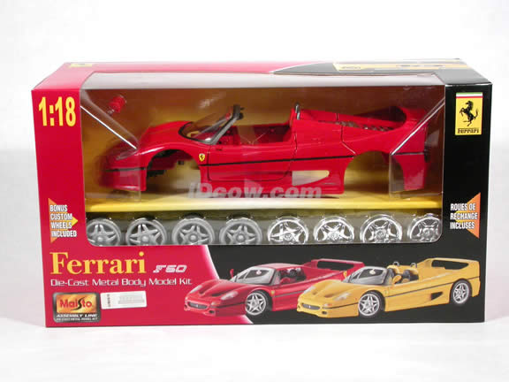 1995 Ferrari F50 diecast model car kit 1:18 die cast by Maisto - Red