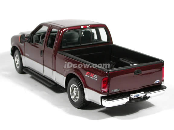 2004 Ford F-350 Lariat diecast model truck 1:18 scale die cast by Maisto - Maroon and Silver