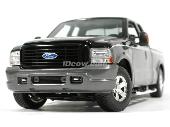 2004 Ford Harley Davidson F-350 diecast model truck 1:18 scale die cast by Maisto - Black & Grey