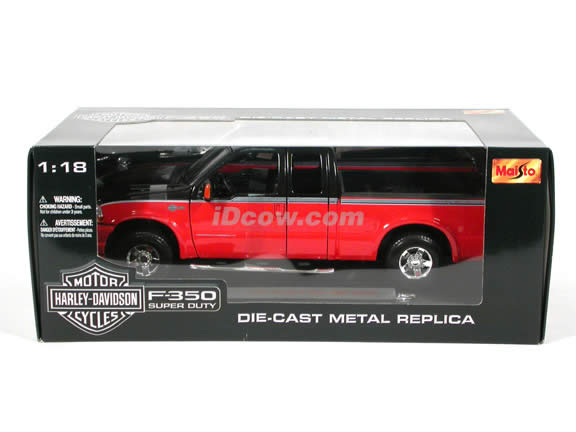 2004 Ford Harley Davidson F-350 diecast model truck 1:18 scale die cast by Maisto - Orange and Black