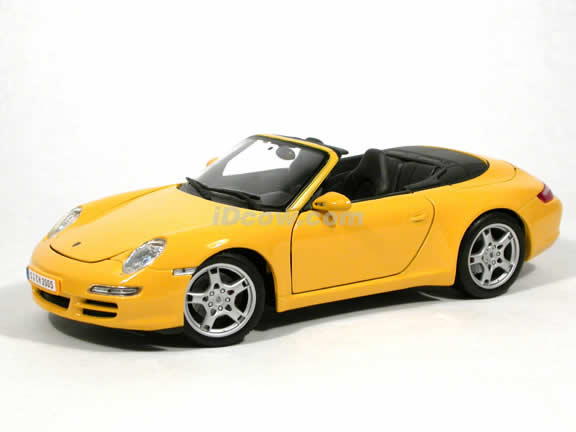 2005 Porsche 911 Carrera S Cabriolet diecast model car 1:18 scale by Maisto - Yellow Cabriolet