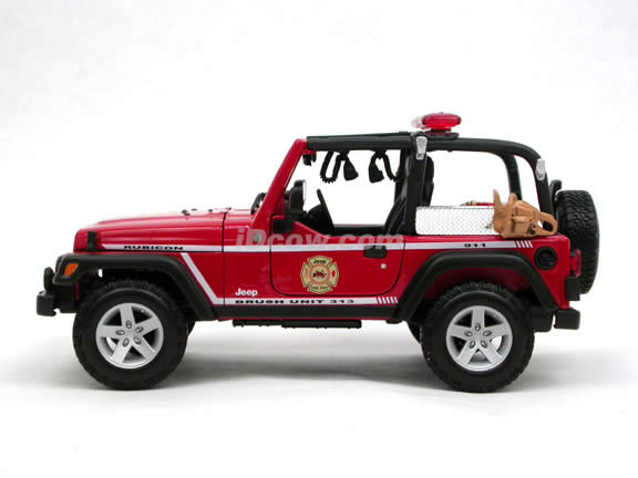 2004 Jeep Wrangler Rubicon Brush Fire Unit diecast model car 1:18 scale die cast by Maisto - Red 36115