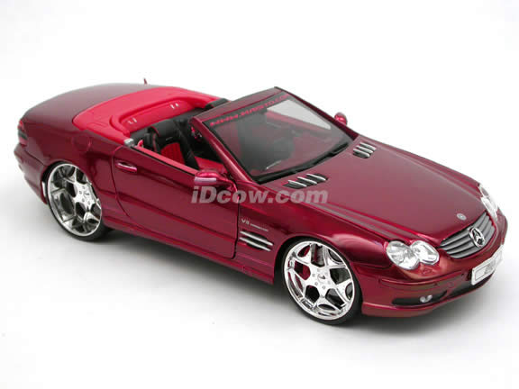 2004 Mercedes Benz SL 55 AMG diecast model car 1:18 scale die cast by Maisto Playerz - Metallic Red 31069