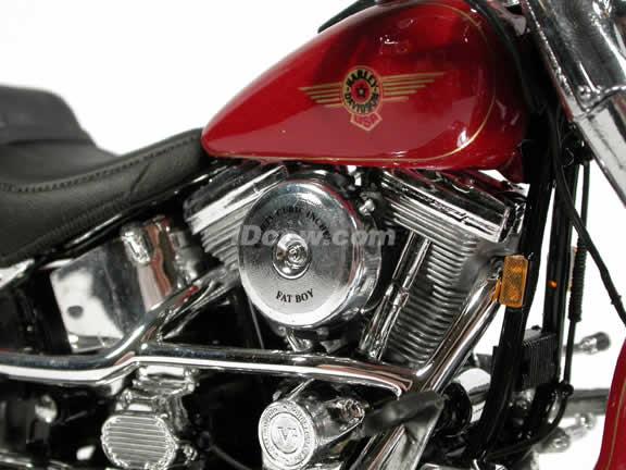 1999 Harley Davidson FAT BOY FLSTF Model Diecast Motorcycle 1:10 die cast by Maisto - Red