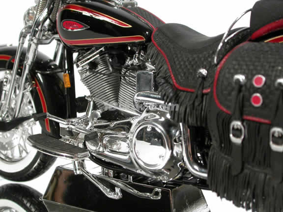 Harley Davidson Heritage Springer FLSTS Model Diecast Motorcycle 1:10 die cast by Maisto - Black with Red Trim
