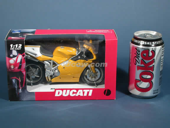Ducati 998s Model Diecast Motorcycle 1:12 die cast by NewRay - Yellow