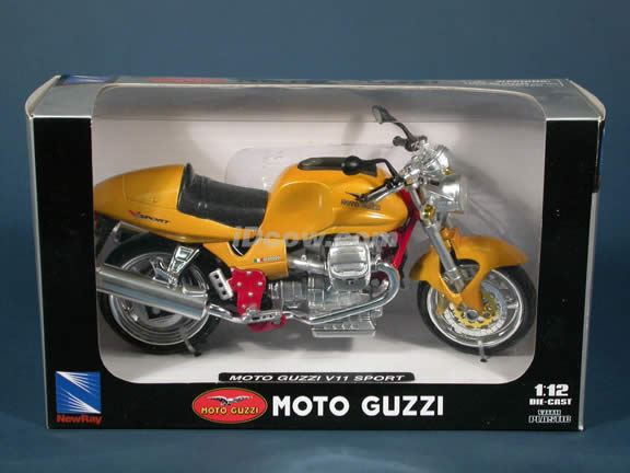 Moto Guzzi V11 Sport model diecast motorcycle 1:12 scale die cast by NewRay - Yellow