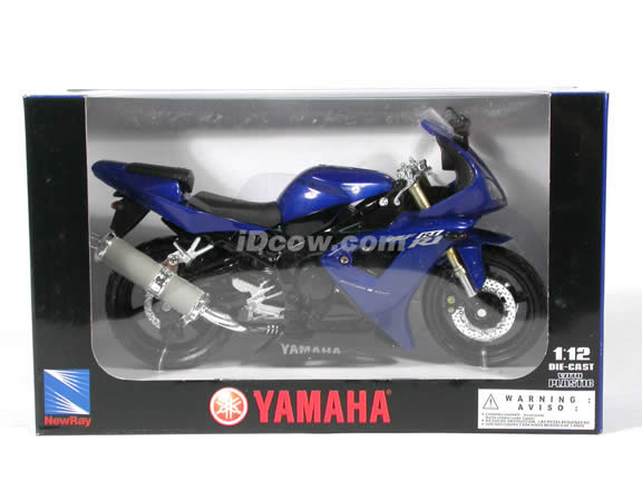 2003 Yamaha YZF-R1 diecast motorcycle 1:12 scale die cast by NewRay - Blue