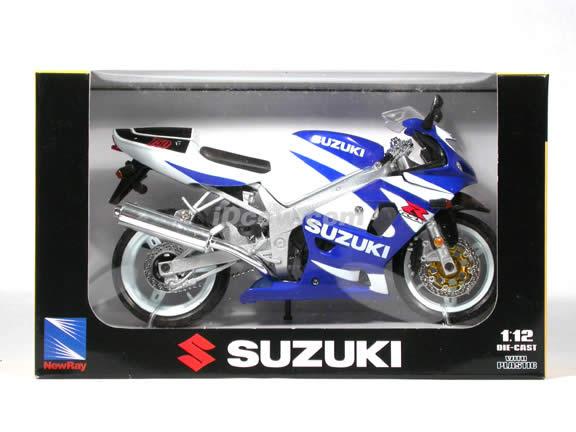 2003 Suzuki GSX-R750 diecast motorcycle 1:12 scale die cast by NewRay - Blue White