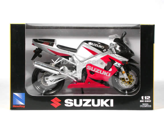 2003 Suzuki GSX-R750 diecast motorcycle 1:12 scale die cast by NewRay - Red Silver
